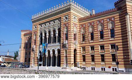 Sarajevo, Bosnia And Herzegovina - June 25, 2017: View At City Hall In Old Town Center Of Sarajevo,