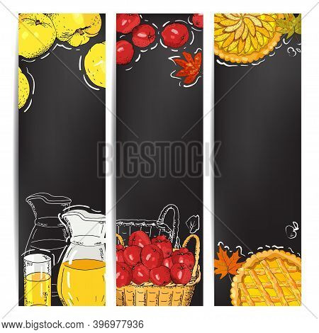 Vertical Banners With Apples, Apple Slices, Apple Pies, Apple Juice Jug, Basket Of Harvest On The Ch