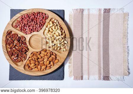 Healthy Mix Of Nuts. Pecans, Cashews, Almonds, Peanuts, Pine Nuts Walnuts Hazelnuts Copy Space