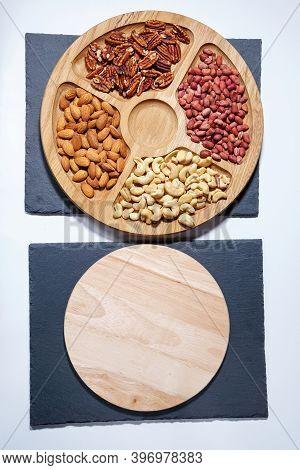 Healthy Mix Of Nuts. Pecans, Cashews, Almonds, Peanuts, Pine Nuts Walnuts Hazelnuts Vertical Photo