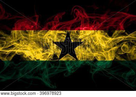 Ghana, Ghanaian Smoke Flag Isolated On Black Background