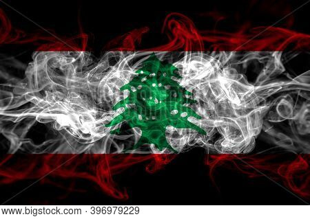 Lebanon, Lebanese Smoke Flag Isolated On Black Background
