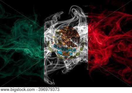 Mexico, Mexican Smoke Flag Isolated On Black Background