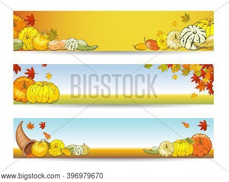 Set Of Horizontal Autumn Banners With Pumpkins, Squash, Leaves And Cornucopia, A Symbol Of Thanksgiv