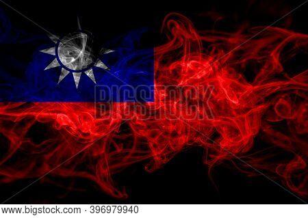 Taiwan, Taiwanese, China, Chinese Smoke Flag Isolated On Black Background