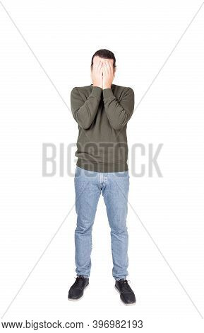 Full Length Portrait Of Disappointed Young Man, Facepalm Gesture, Covering Face With His Hands. Depr