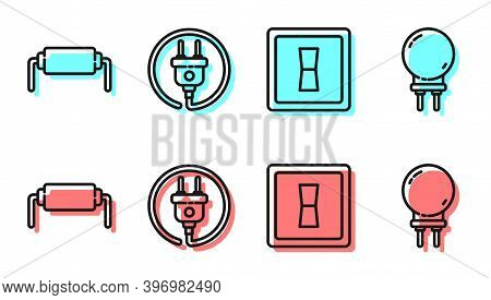 Set Line Electric Light Switch, Resistor Electricity, Electric Plug And Light Emitting Diode Icon. V