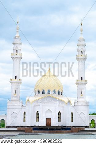 mosque in the morning. White mosque in Bulgari. Big, beautiful mosque. Muslim mosque.
