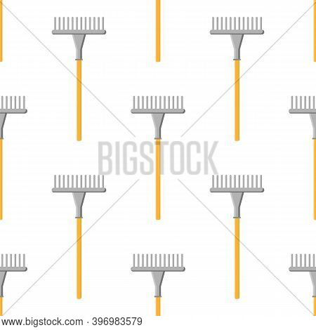 Seamless Pattern With Cartoon Rakes On White Background. Gardening Tool. Vector Illustration For Any