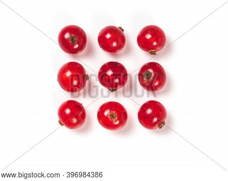 Creative Layout Of Red Currant Berries. Food And Diet Concept. Top View Of Ripe Red Currant Berries