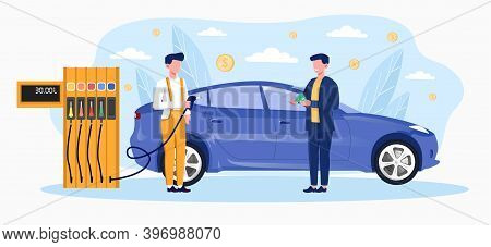 Gas Station Worker Helping To Refuel Car. Concept Of Petrol Economy. Service Filling Gas Or Biodiese
