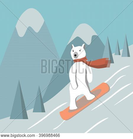 Polar Bear Glides On Snow On The Board Against Mountains. Cute Animal Wears Red Scarf, Snowboarding