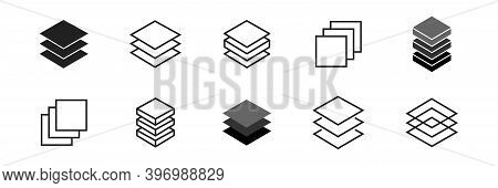 Layer Icon Collection. Vector Layers Line Symbol Set.