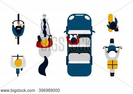 People On Transport Top View. Cartoon People Driving Car, Motorbike And Bicycle. Cute Man And Woman