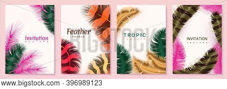 Feather Posters. Invitation And Birthday Cards With Realistic Fluffy 3d Rainbow Plumage, Minimal Bac
