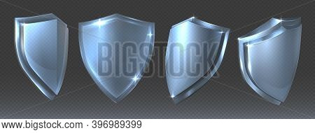 Glass Shield. Blue Protective Clean Transparent 3d Panel Various Angles, Shiny Security Symbol With