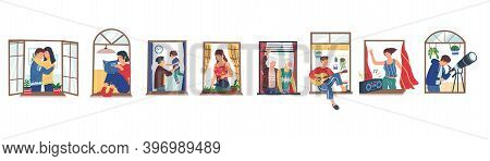 People In Windows. Cartoon Neighbors Staying At Apartments. Men And Women Sitting On Windowsills Wit