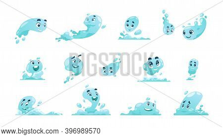 Water Mascot. Cartoon Liquid Splash With Anthropomorphic Faces. Cute Blue Fluid Drops And Waves. Iso
