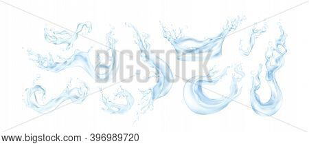 Water Splash. Realistic Transparent Liquid. Collection Blue Water Drops, Motion And Flows. Isolated