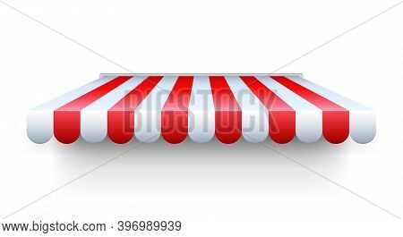 Stripe Awning. Realistic Red And White Cafe Tent. Isolated Shop Roof. Canopy For Protection From Sun