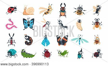 Cartoon Funny Insects. Colorful Cute Bugs Characters Set With Smiling Faces, Snail, Spider And Cater