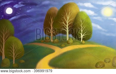 Hand-drawn Landscape With Trees, Grass And A Fork In The Road. The Choice Of Day Or Night, Good And