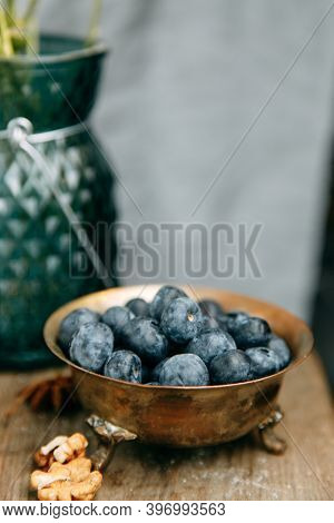 Blueberry Antioxidant Organic Superfood In A Bowl Concept For Healthy Eating And Nutrition.