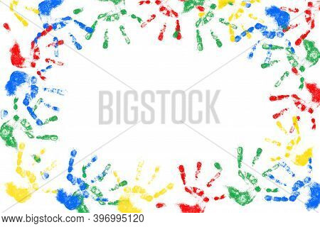 Hand Prints On A White Background. Colorful Background