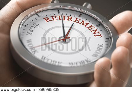 Hand Holding A Conceptual Watch With The Words Retirement And Work. Time To Retire Concept. Composit
