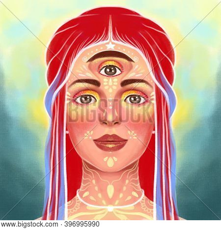 Illustration Portrait Of A Girl With A Third Eye, Meditation, Supersenses, Enlightenment, Supernatur
