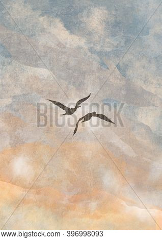 Boho Sky With Two Birds Print. Abstract Background. Bohemian Printable Wall Art, Boho Poster, Pastel