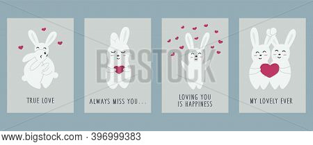 Set Of Cards With Cute Hares Or Rabbits For Valentines Day. On A Blue Background. Holiday Valentines