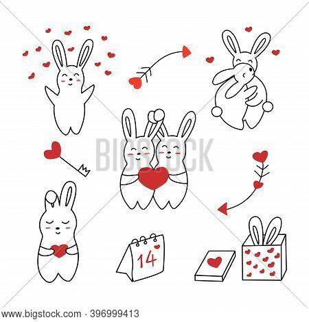 Set Of Cute Hares Or Rabbits For Valentines Day. On The Calendar February 14, Arrows Of Love, Key Wi