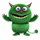 3d cartoon cute green furry alien monster poster