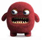 3 d cartoon red cute furry monster poster