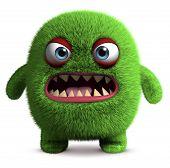 3 d cartoon green cute furry monster poster