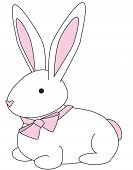illustration of a cuddly bunny with a pink bow. poster
