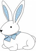illustration of a cuddly bunny with a blue polka dotted bow. poster