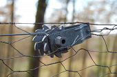ratchet used to tighten wire fences to the correct tension in the countryside. poster