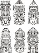 Abstract mesoamerican aztec totem poles. Set of black and white vector illustrations. poster