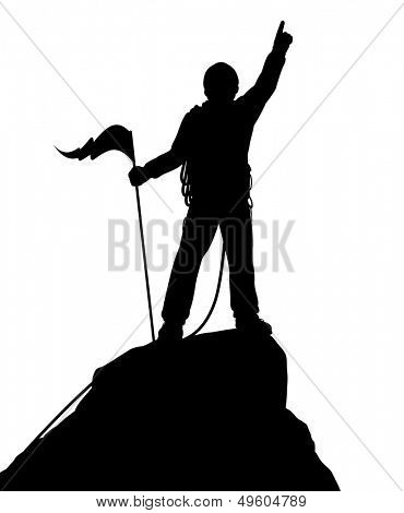 Editable vector silhouette of a successful climber on a mountain summit