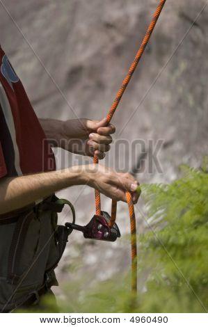 Security Caribiners. Climbing Gear Of A Climber