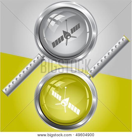 Spaceship. Vector magnifying glass.