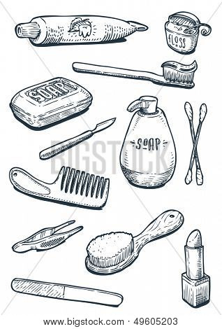 set of vintage hygiene tools