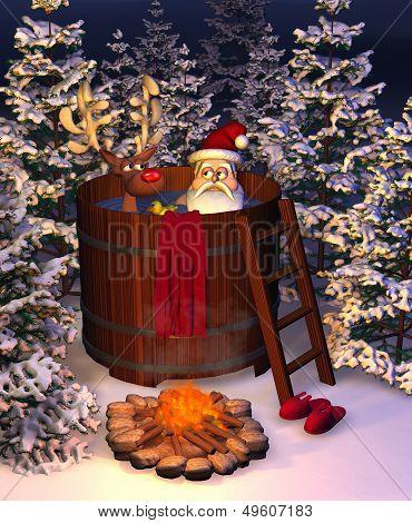 Hot Tub Santa Scene