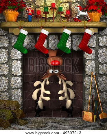 Stuck Reindeer in the Fireplace