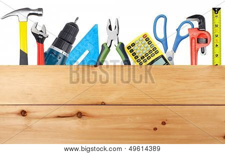 Construction tools. Home and house renovation concept background.