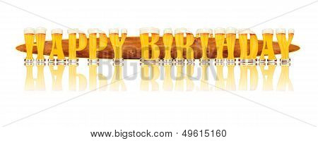 BEER ALPHABET letters HAPPY BIRTHDAY.