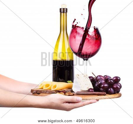 wine and food with waiter hand