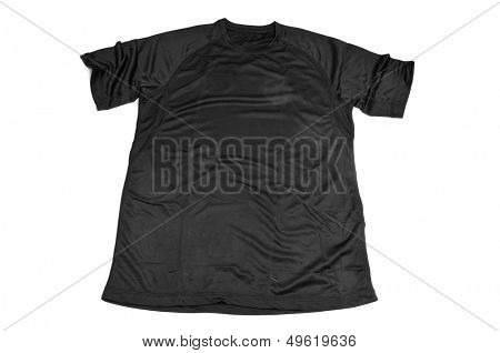 a black breathable polyester sports T-shirt on a white background